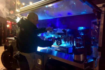 A coffee shop with a difference, housed in an SUV on Saddlergate for the Night Market.