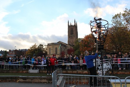 Crowds outside the fourth Mini Maker Faire in Derby